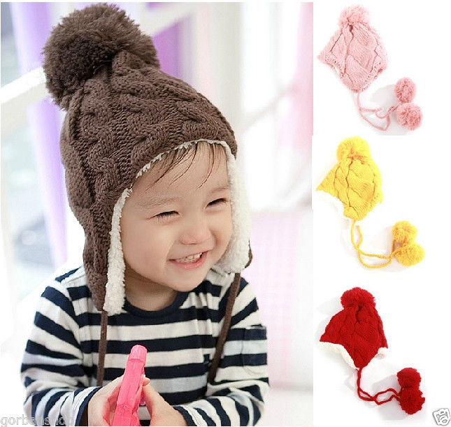 BomHCS Baby Childrens Beanie Girls/Boys Cap Winter Hat Warmer Knitted Pompon Covering