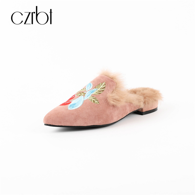 CZRBT Luxury Brand Style Spring New Women Fashion Pointed Mules Shoes Flats Loafers with Natural Rabbit Fur Embroider Big Size 2017 new spring summersweet women flats pointed sequined toe with big bowtie shoes for women cansual shoes free shipping