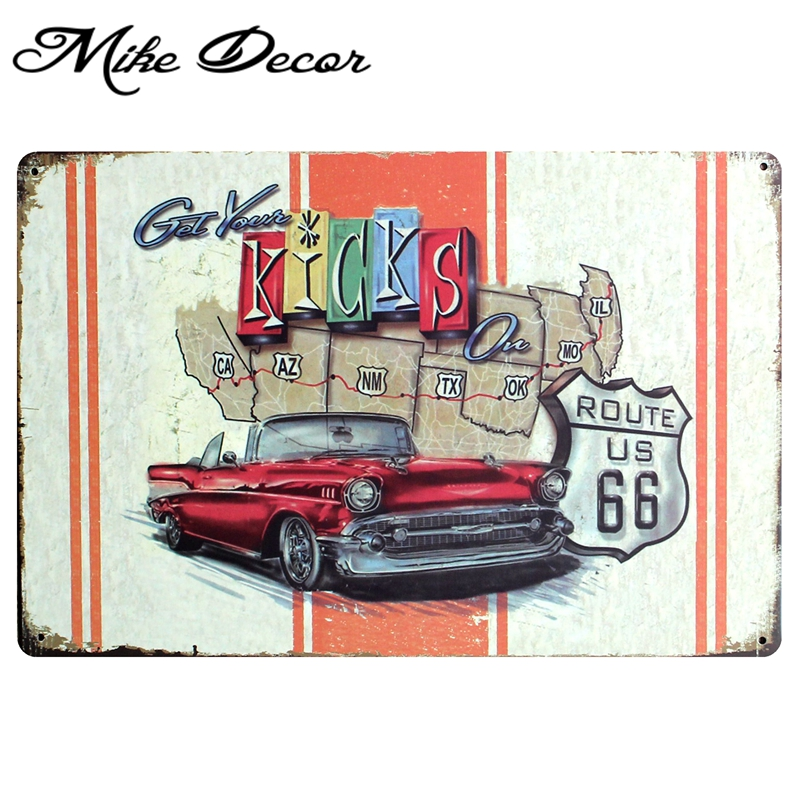 Mike86 Mother Road Car Route Us 66 Map Metal Signs Gift Pub Wall Art Painting Craft Bar Decor A 831 Mix Order 20 30 Cm