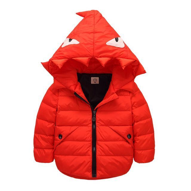 Winter Children' Down Coat Fashion Cartoon Little Monster Hooded Long-sleeve Jacket Baby Boy Girl Casual Keep Warm Kids Clothing