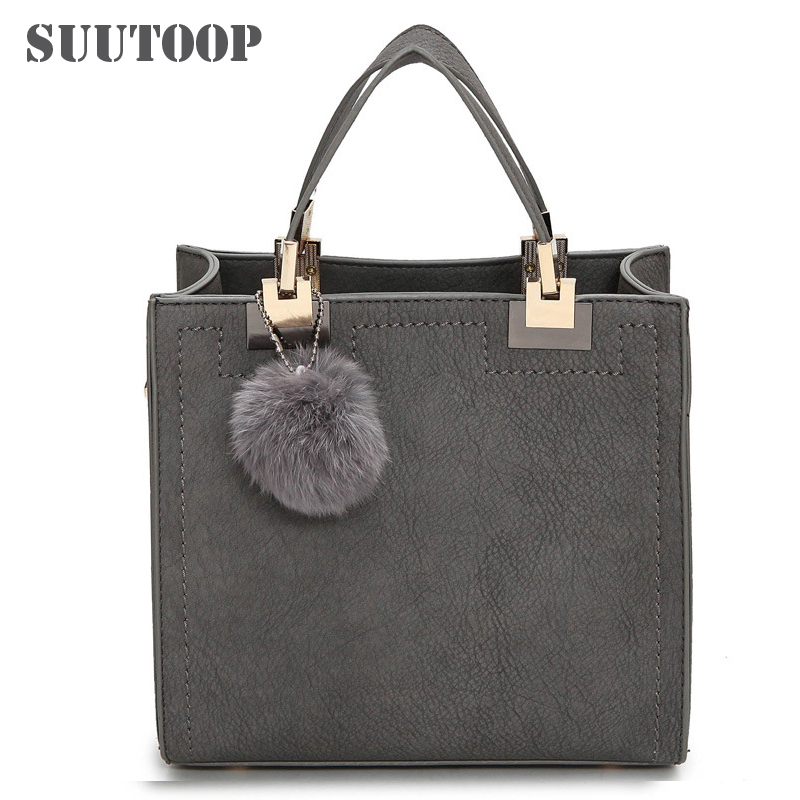 Hot sale handbag women casual tote bag female large shoulder messenger bags high quality PU leather handbag with fur ball bolsa girl