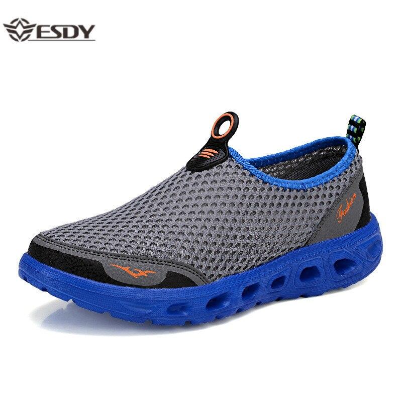Sapatos de verão masculino casal sapatos casuais moda leve respirável tênis de caminhada deslizamento-em malha dos homens sapatos planos mais tamanho 48
