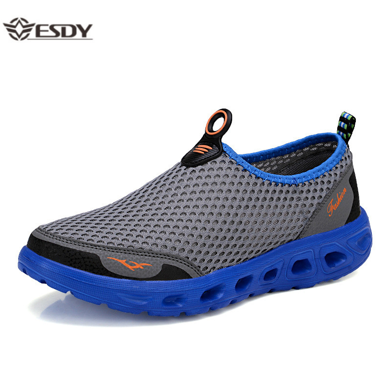 Summer Shoes Men Couple Casual Shoes Fashion Lightweight Breathable Walking Sneakers Slip-on Mens Mesh Flats Shoes Plus Size 48