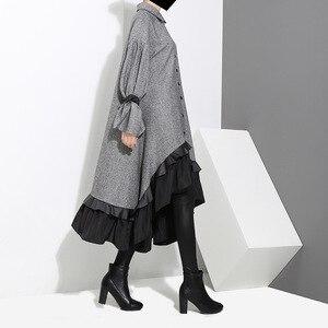 Image 2 - [EAM] 2020 새로운 봄 옷깃 긴 소매 붕대 솔리드 컬러 그레이 빅 헴 불규칙한 루즈 드레스 여성 패션 조수 JD717