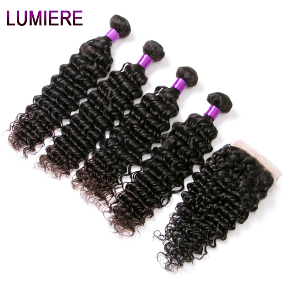 Lumiere Hair Indian Deep Wave Non Remy Human Hair Bundles With Closure 4 Bundles 100 Indian
