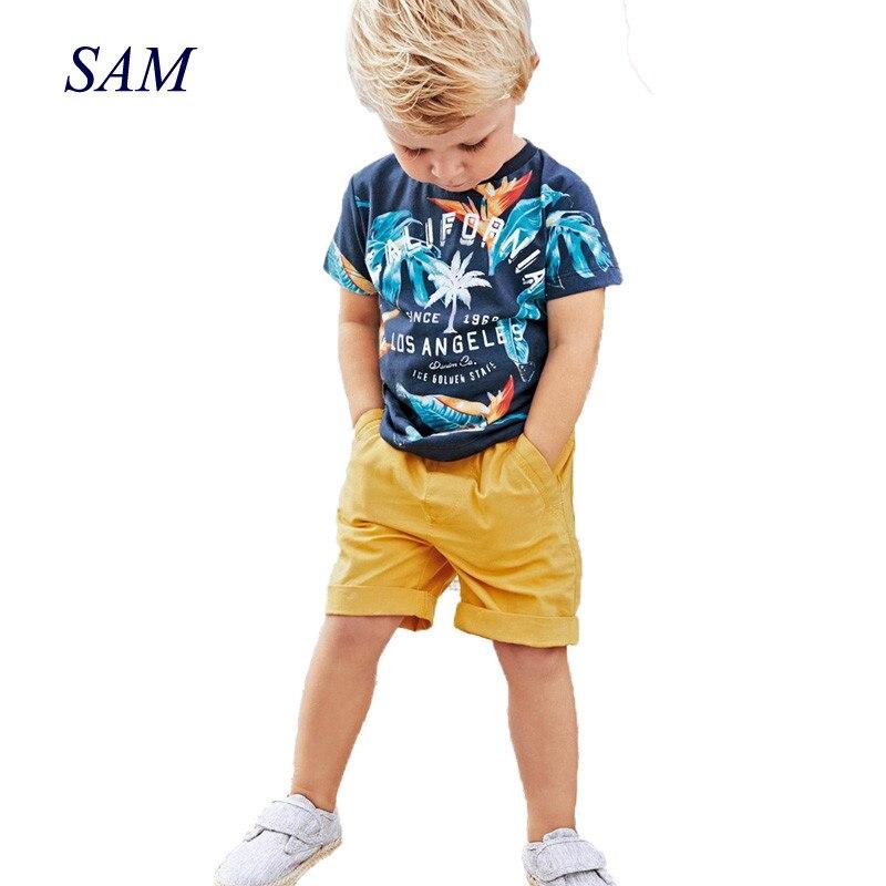 2017 בני תינוק נערי קיץ סטי סטי כותנה חולצה + מכנסיים קצרים בגדי ילדי סט חליפת ספורט מכתב מודפס