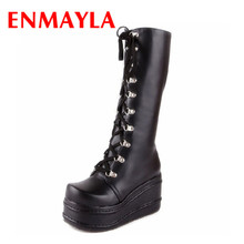 ENMAYLA Femmes Bottes New Gothic Punk Chaussures Cosplay Bottes Genou Haut Talon Plate-Forme Sexy Zip Hiver Coins Cuissardes
