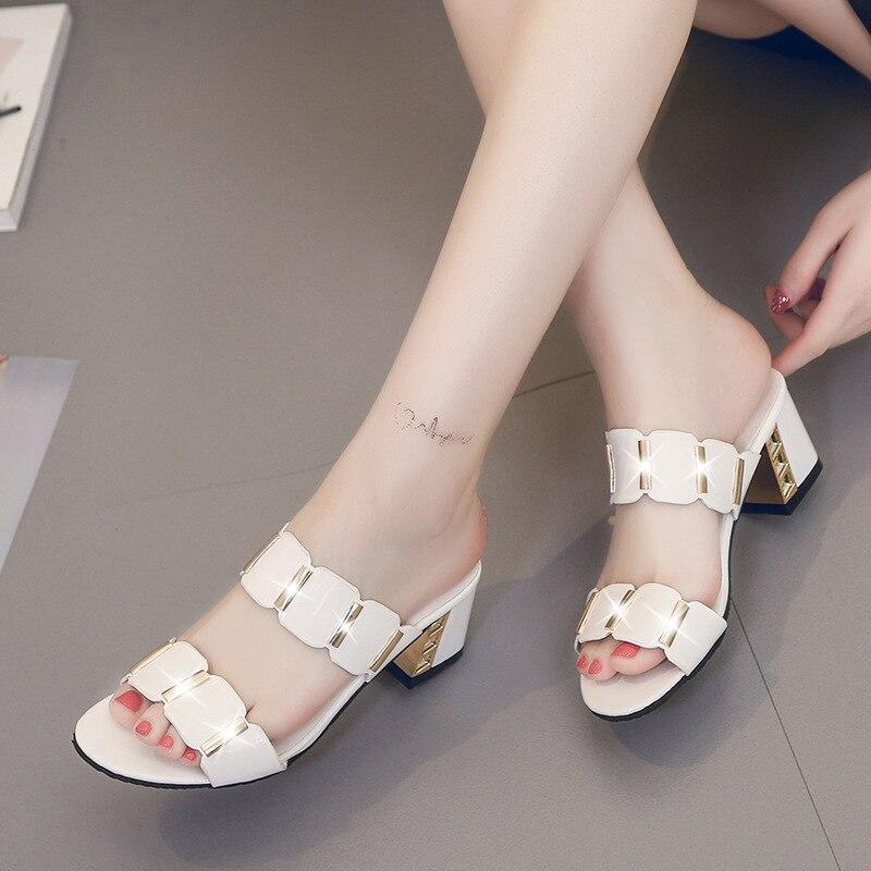 HTB1dnaEaELrK1Rjy0Fjq6zYXFXaI Sandals Women High Heels Female Square Heels Sandalia Feminina Ladies Pump Shoes Party Wedding Peep Toe Shoes Black sandalias