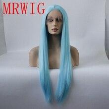 MRWIG sintético recto peluca con malla frontal luz larga pelo azul resistente al calor de la parte media de 150%