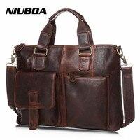 Men S Leather Handbag Messenger Shoulder Briefcase Laptop Bag Purse Large Size Black Blue Crossbody Bag