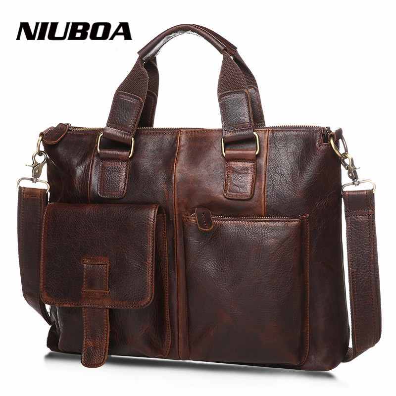 Men Genuine Leather Bags Handbag Top Quality Messenger Briefcase Laptop Shoulder Bag Large Size Real Leather Crossbody Bag augus 100% genuine leather laptop bag fashional and classic crossbody bags leather for men large capacity leather bag 7185a