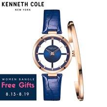 Kenneth Cole Для женщин s часы See-through кожа Пряжка кварцевые синий Водонепроницаемый оригинальный Элитный бренд часы для Для женщин KC2643