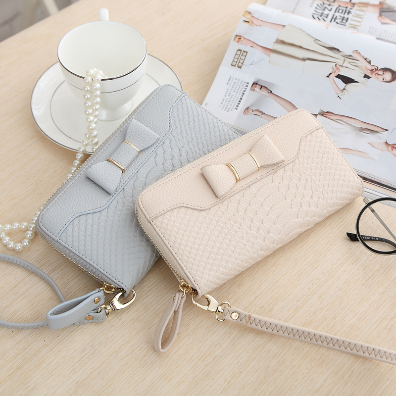 Women Long Wallets Purse Female Candy Color Bow PU Leather Carteira Feminina for Coin Card Clutch Lady Bag