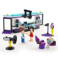 195pcs Recording Song Studio Girl Music Series Building Blocks Assembled Model Kids Toys For Girls Kids