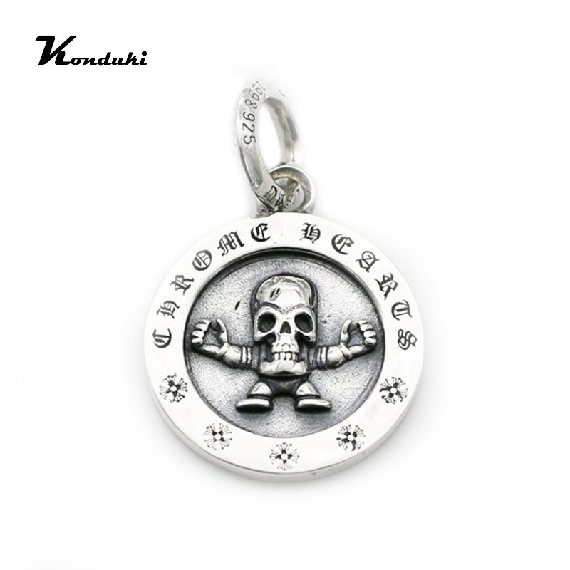 Nightclub trend jewelry punk style S925 sterling silver skull necklace pendant Thai silver rock sweater chain pendant necklace