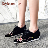 Stylesowner Woman Increased Heel Wedge Sneakers Shoes Real Leather Embroidery Flower Pointed Toe Casual Loafers Spring Shoe