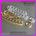 100% Famous Brand Latest Fashion Gold Silver Link Chunky Chain Bracelet Alloy Charms Bracelet Gold Silver Charm Bracelet