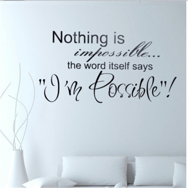 Nothing Is Impossible Inspirational Quotes Wall Sticker Home Decor Wall  Decal Art Living Room Quote Saying