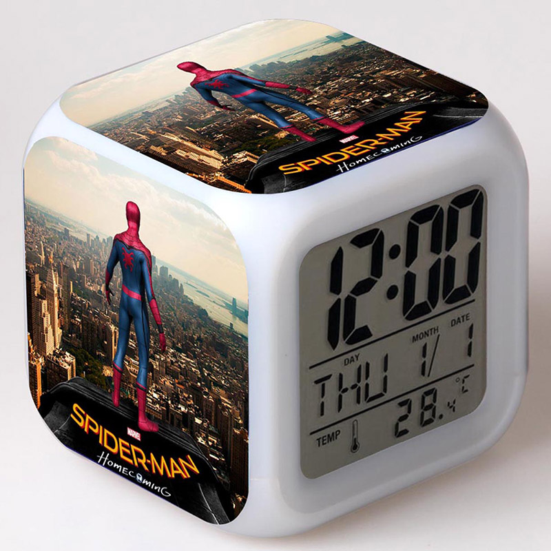 TV Figma Spiderman Juguetes Clock LED Colorful Glowing Light Thermometer Spider-man Homecoming Figurines Lovely Watch Toys