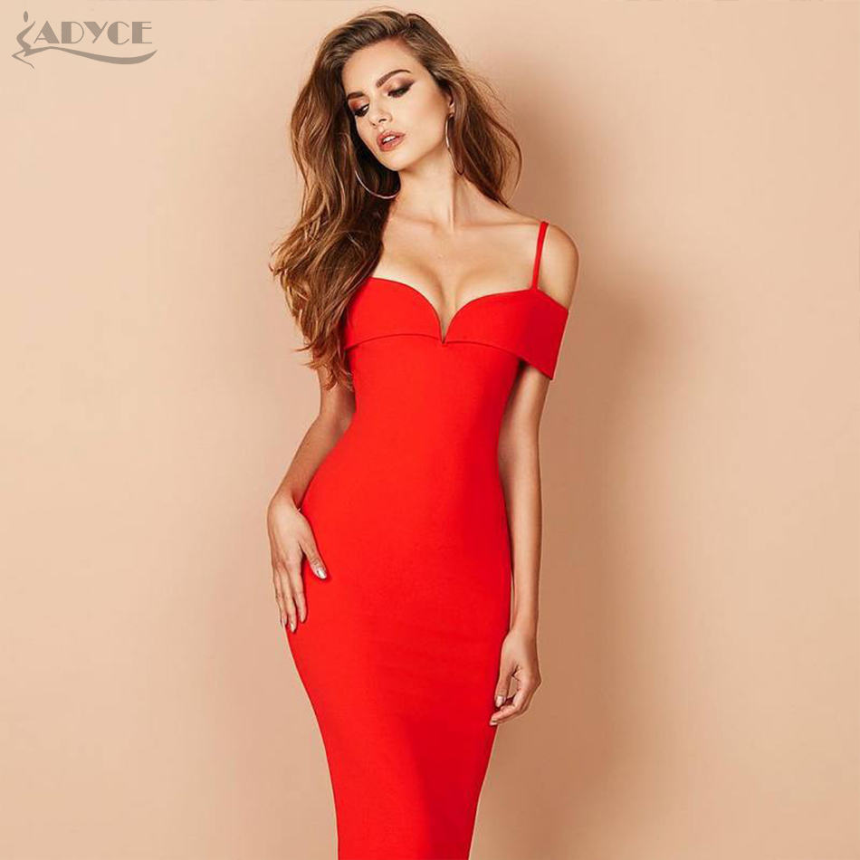 Adyce 2017 New Summer Woman Bandage Dress Apricot Black Red Sexy Deep V neck Luxury Party