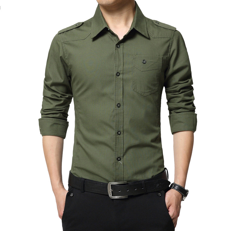 2019 Men's Epaulette Shirt Fashion Full Sleeve Epaulet Shirt Military Style 100% Cotton Army Green Shirts With Epaulets