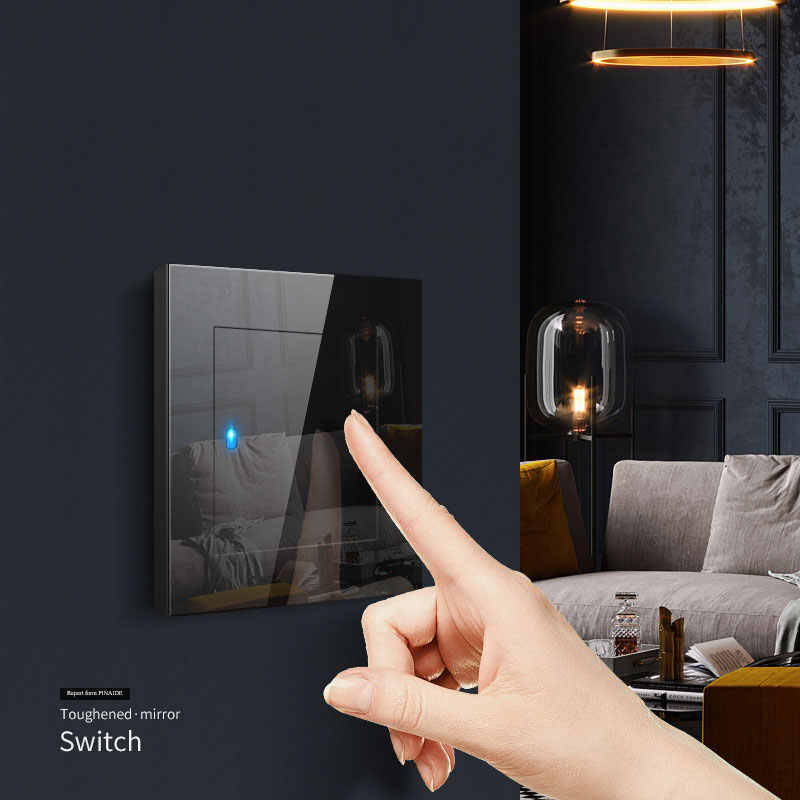 1 2 3 4 Gang 1 2 Way Switch Press Button Black Mirror Light Switch Any Click Point Control Wall Switch Panel With Led Indicator