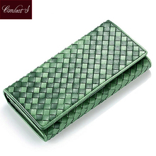 Contact's Handmade Knitting  Wallets Women Sheep Leather Ladies Clutch Wallet Card Holder Coin Zipper Purse Ladies Phone Clutch