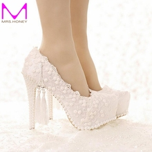 Sweetness White Lace Bridal Dress Shoes Spring and Summer Lady High Heels Wedding Party Satin Shose Graduation Party Prom Pumps