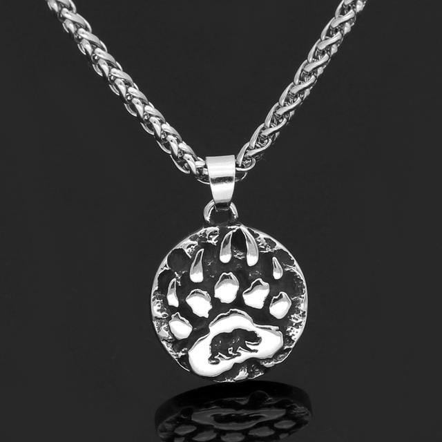STAINLESS STEEL VIKING AMULET RUNE SMALL BEAR PAW NECKLACE
