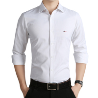DUDALINA Shirt Men Business Casual Cotton Men S Social Shirt Aramy Solid Color Embroidery Shirt 5XL