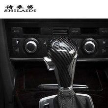 Palanca de cambios de diseño de fibra de carbono para coche, pegatinas para Audi A6, C6, A4, B7, A5, Q5, Q7, accesorios de embellecedor de palanca de cambios automática