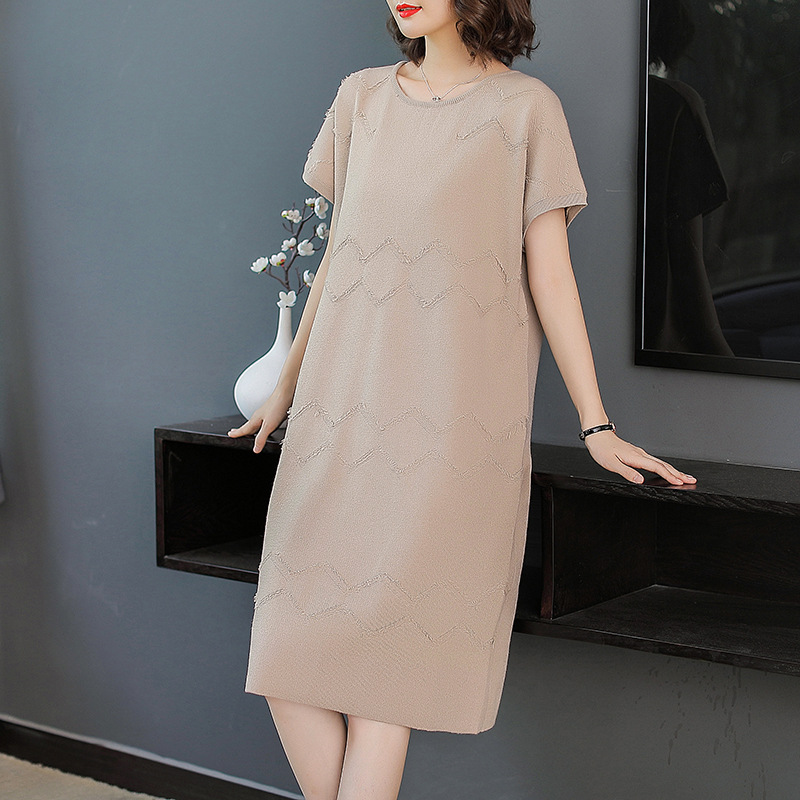 Solid short sleeve elastic knit loose plus size sweater dress 2018 new women autumn long dress image
