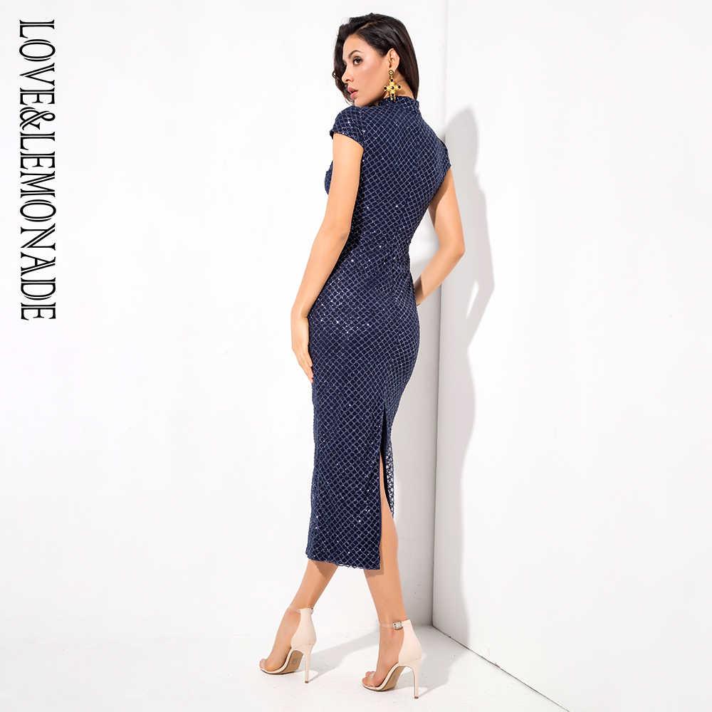 Женское вечернее платье Love&Lemonade, синее клетчатое облегающее платье с воротником-стойкой, модель LM1279