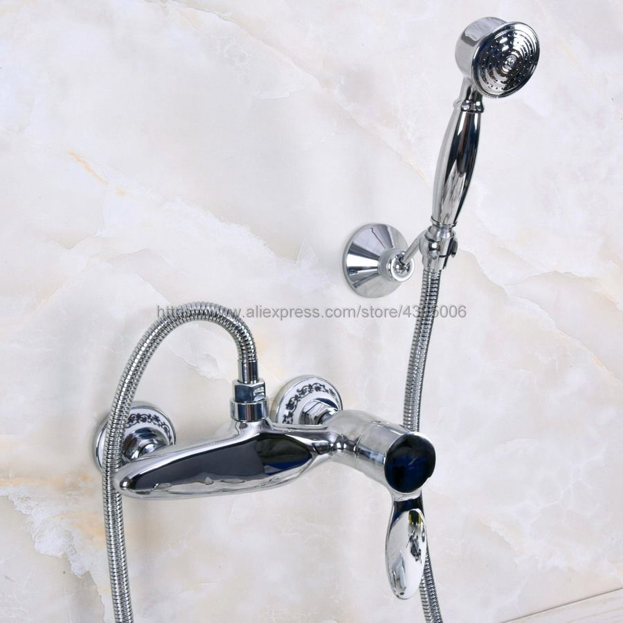 Free Shipping Polished Chrome Bath Shower Faucet Cold and Hot Water Mixer Tap with Hand Shower Single Handle Bna274Free Shipping Polished Chrome Bath Shower Faucet Cold and Hot Water Mixer Tap with Hand Shower Single Handle Bna274