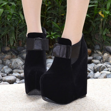 Black Suede Platform Ankle Boots Closed Toe Wedge Booties Women's High Heeled Shoes Large Sizes For Ladies 15CM