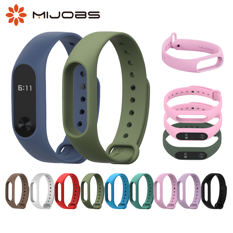 Mijobs Mi Band 2 Bracelet Wrist Strap Accessories For Xiaomi Mi2 Smart Bracelet Miband 2 Watch Strap Silicone Wristband Mi Band2