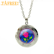 TAFREE Wholesale Pink flower beauty beast rose necklace women charms rose lotus Canadian Maple Leaf locket pendant jewelry N762(China)