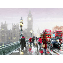 "5D full gear diamond embroidery ""Big Ben Street View"" kit pattern diamond painting mosaic bead picture of rhinestones Tower YY(China)"