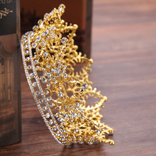 FORSEVEN Vintage Round Big Crown Queen Tiara Hair Jewelry Gold Silver Crysta Crown For Wedding Bride Hair Accessories HG192