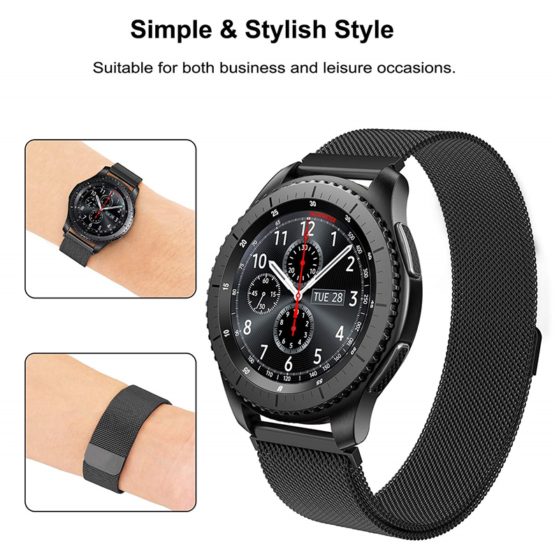 Stainless Steel Milanese Magnetic Loop Watch Bracelet Strap Wristwatch For Samsung Gear S3 Classic Frontier Watch Band 22MM 2017 new stainless steel bracelet strap watch band milanese magnetic with connector adapter for samsung gear s2 watch band