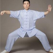 6 Colors Tencel and Linen Tai Chi Clothes Short Sleeve Taiji Suits Kung Fu Uniform Summer Chinese Tang Dress Shirt+Pants