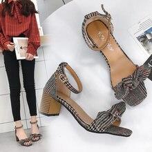 Arc de mode coréenne épais avec des chaussures scoop à talons hauts INo2jNe5