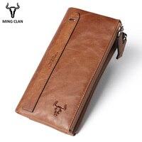 Mingclan Women's Purse Ladies Men Genuine Leather Long Wallets Money Bag Clutch Zipper Coin Wallet ID Card Holder Female Wallet