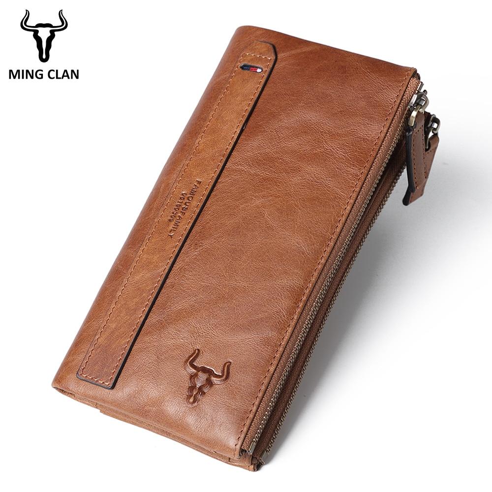 Женский кошелек из натуральной кожи, Дамский удлиненный клатч с двойной молнией и RFID-защитой, кредитница с кармашком для телефона