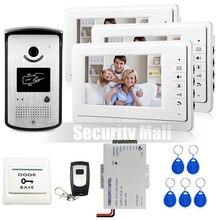 Chuangksafe. nuevo Hogar 7 pulgadas Sistema de Videoportero De Intercomunicación 3 Monitores blanco + RFID Cámara Timbre + Desbloqueo Remoto En Stock