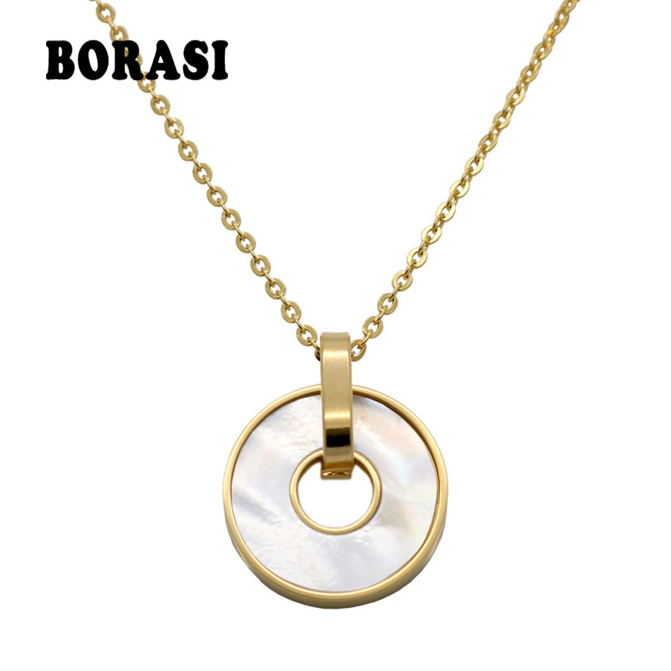 Partihandel New Fashion Smycken Rose Gold Color Rostfritt Stål Link Chain White Shell Hängsmycke Halsband Women Party Gifts