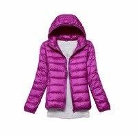 Tengo Brand Spring Autumn Women Parka Ultra Light Down 90 White Duck Down Jacket Hooded Coat
