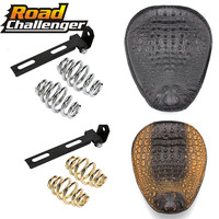 for Harley Custom Chopper Bobber Leather Saddle Seat Motorcycle Retro Brown/Black Crocodile Leather Solo Seat+3 Spring Bracket