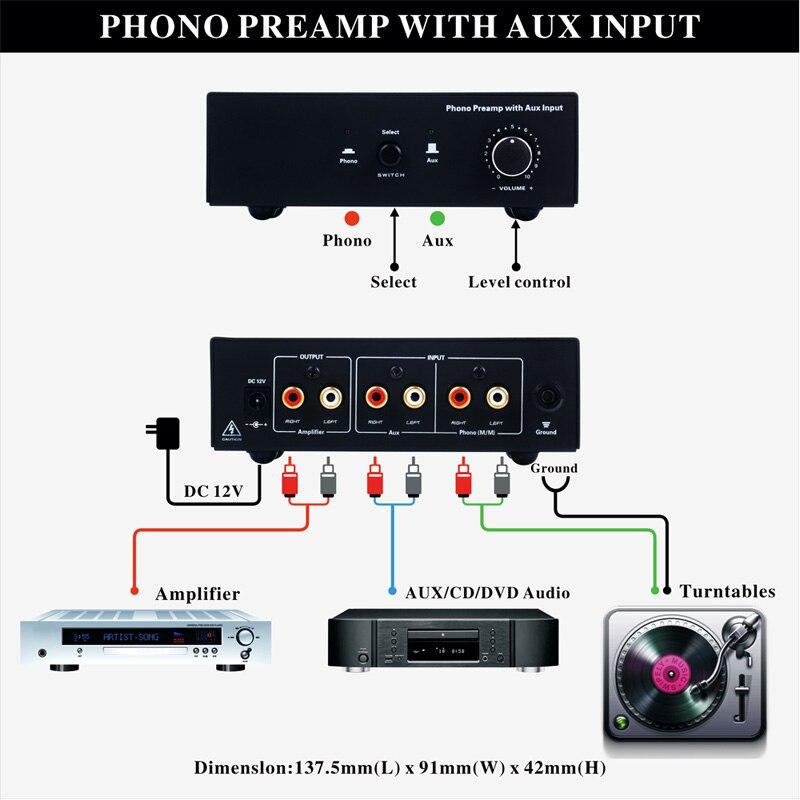 Phono platine vinyle préampli Signal amplificateur préphonographe avec entrée auxiliaire contrôle du Volume QJY99 - 5