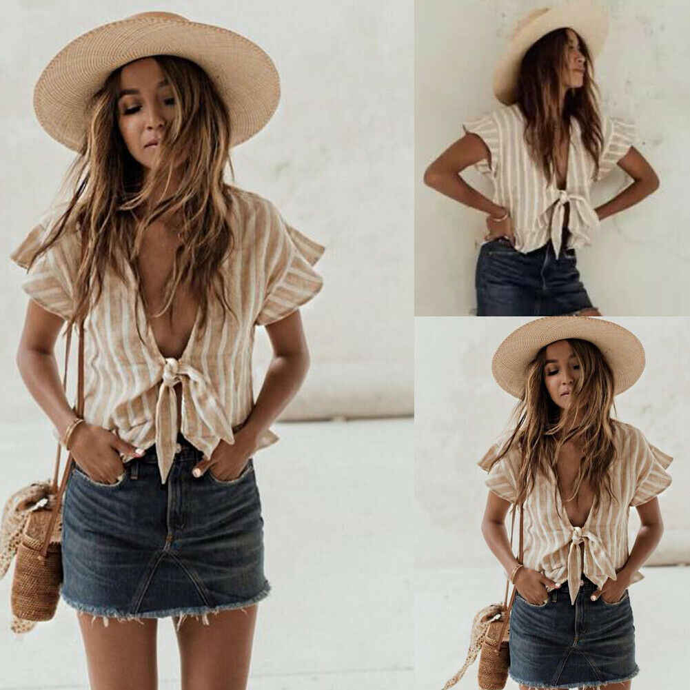 مثير النساء ديب V الرقبة أزياء جديد القوس تصميم فضفاض قصيرة الأكمام عارضة بلوزة قميص قمم حار الصيف عطلة الشاطئ نمط ارتداء